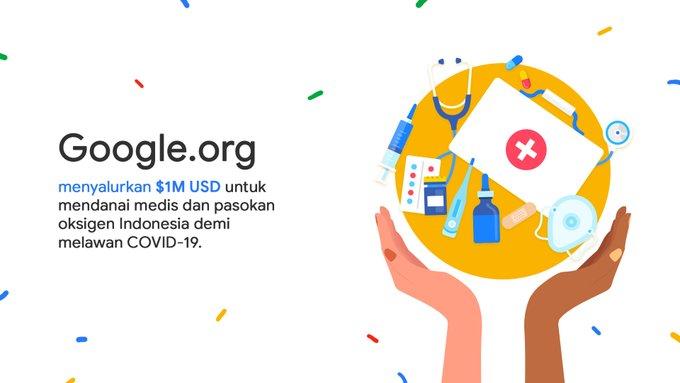 Google Rogoh USD1 Juta Untuk Danai Medis dan Pasokan Oksigen di Indonesia